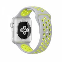 Ремешок Silicone with Flat Silver/Volt Nike for Apple Watch 38/40/42/44mm, Цена: 612 грн, Фото