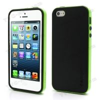 SPIGEN SGP Neo Premium TPU   PC Hybrid Cover Case for iPhone 4.4s.5 - Black / Green, Цена: 287 грн, Фото