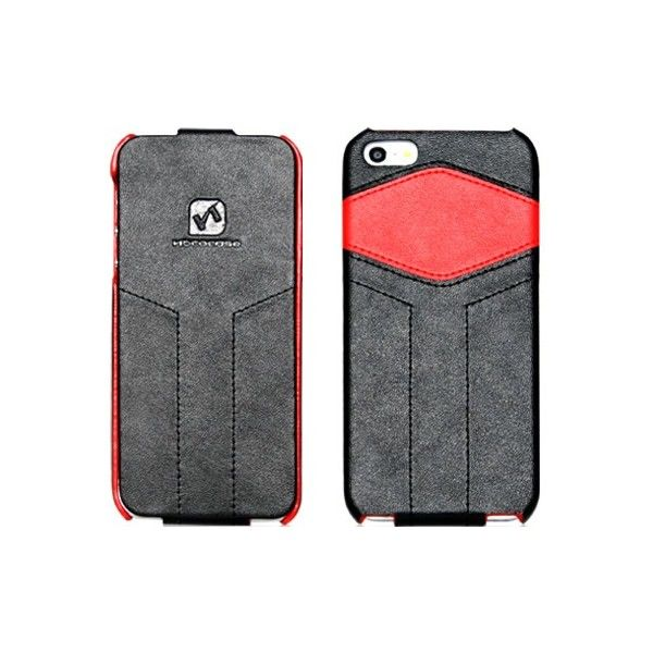 Чехол - книжка HOCO Mixed color Royal leather Flip для iPhone 5.5S Black/Red - Фото 1