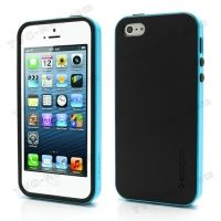 SPIGEN SGP Neo Premium TPU   PC Hybrid Cover Case for iPhone 4.4s.5 - Black / Blue, Цена: 287 грн, Фото