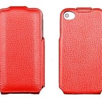 Чехол кожаный flip leather red iPhone 4.4s, Цена: 377 грн, Фото