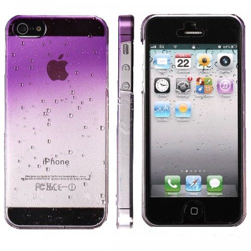 Water Droplets Plastic Hard Case for iPhone 5 (Purple) - Фото 2