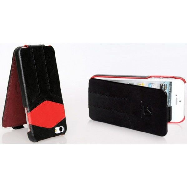 Чехол - книжка HOCO Mixed color Royal leather Flip для iPhone 5.5S Black/Red - Фото 2