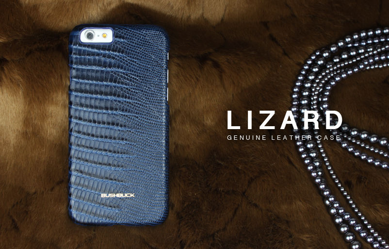 Кожаный чехол Bushbuck BARONAGE LIZARD Genuine Leather for iPhone 6 (Blue) - Фото 2