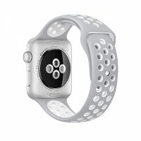 Ремешок Silicone with Flat Silver/White Nike for Apple Watch 38/40/42/44mm, Цена: 612 грн, Фото