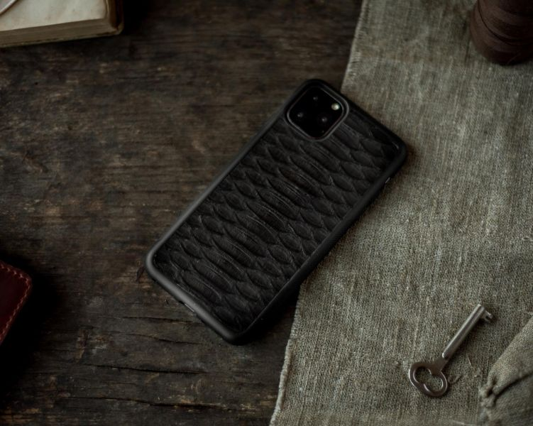 Чехол из натуральной кожи Питона для iPhone 11 Pro Black - Фото 5