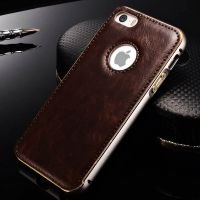 Чехол Cross Leather Brown - bumper silver for iPhone 5.5s / 6.6s, Цена: 409 грн, Фото