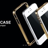 Бампер Cross-Line Aluminum Ultrathin 0.7мм Champagne iPhone 4.4s оригинал, Цена: 297 грн, Фото