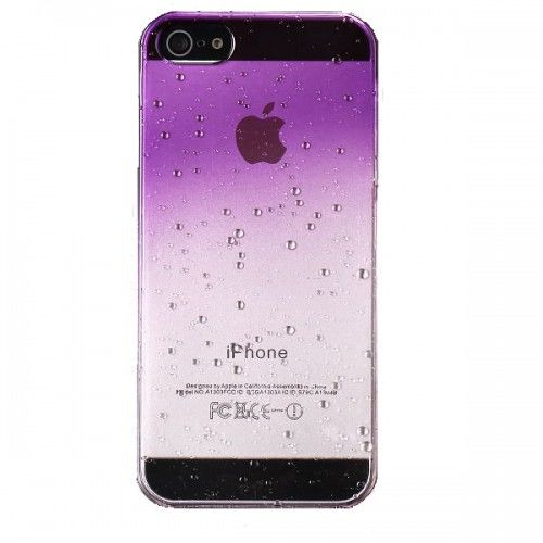 Water Droplets Plastic Hard Case for iPhone 5 (Purple) - Фото 1