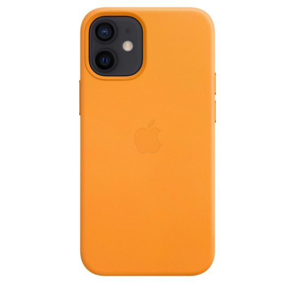 Чехол iPhone 12 mini Leather Case with MagSafe - California Poppy - Фото 1