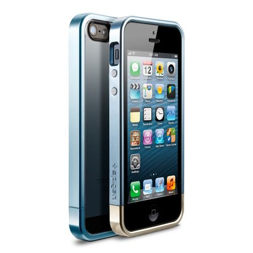 Чехол SGP Case Linear Metal Crystal Series Metal Blue for iPhone 5.5s - Фото 1