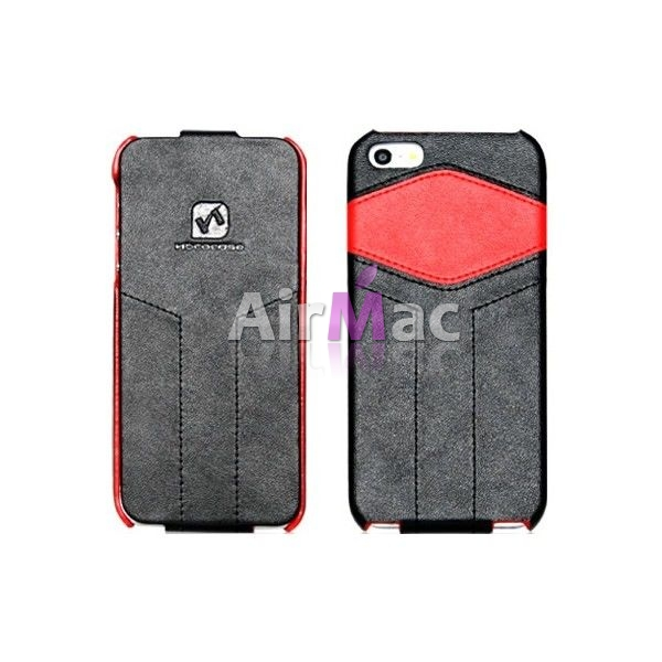 фото Чехол - книжка HOCO Mixed color Royal leather Flip для iPhone 5.5S Black/Red
