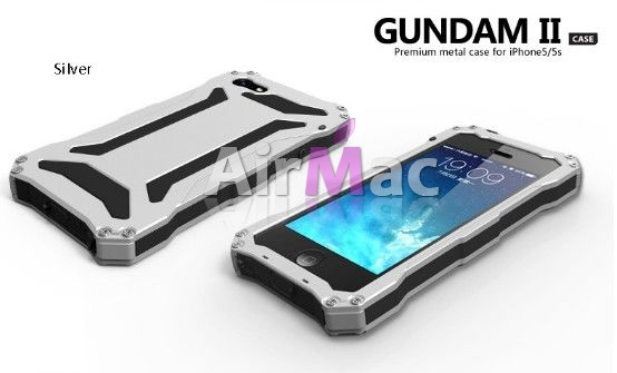 фото R-JUST Gundam 2 Waterproof Silver Metal Case For iPhone 5.5s.5SE